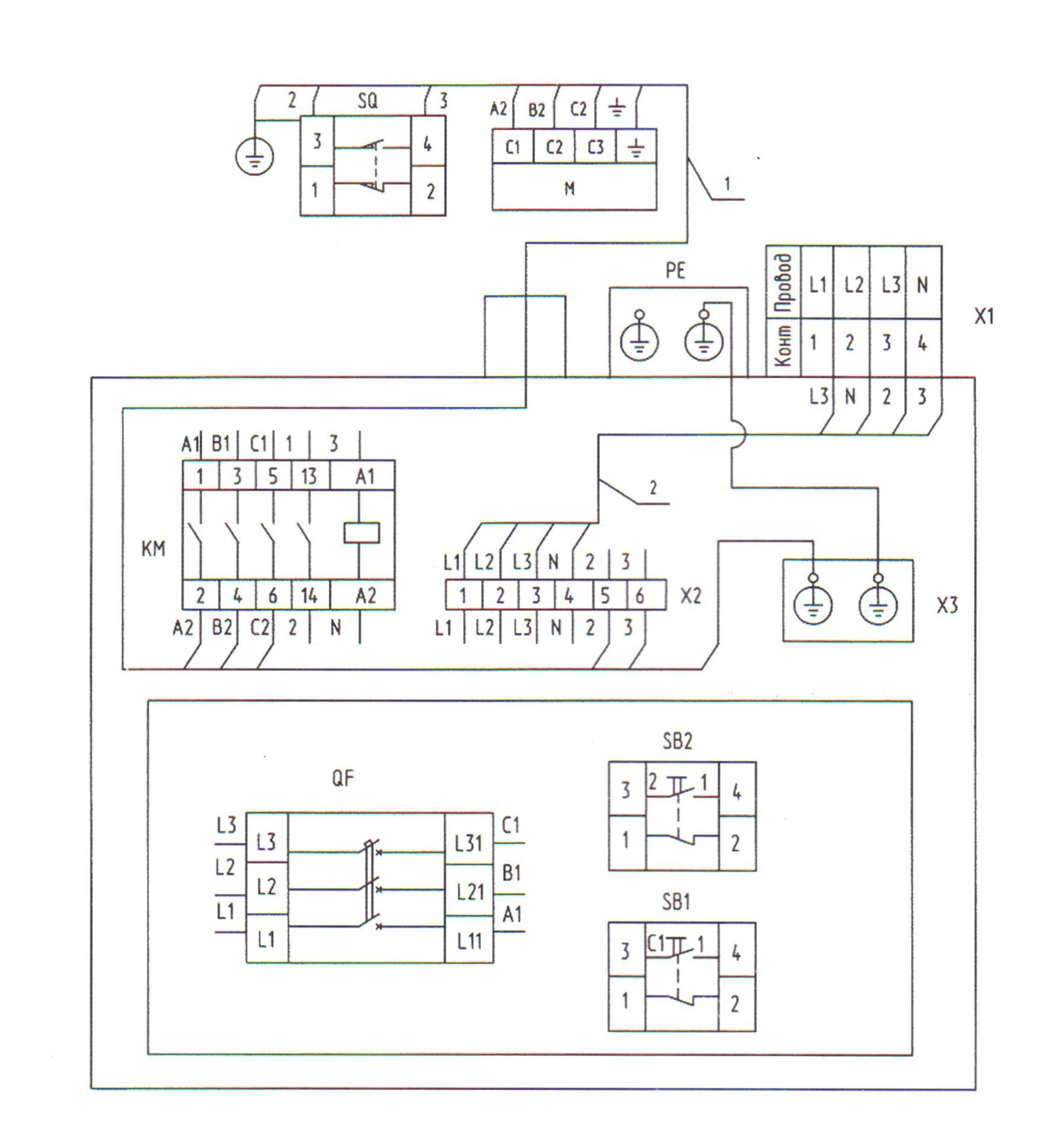электрическая схема подключение гибочного станка